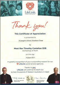 LifeLink Certificate of Appreciation